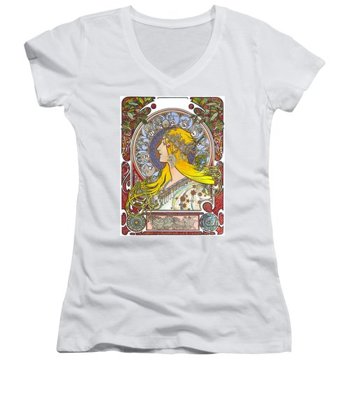 My Acrylic Painting As An Interpretation Of The Famous Artwork Of Alphonse Mucha - Zodiac - Women's V-Neck T-Shirt (Junior Cut) by Elena Yakubovich