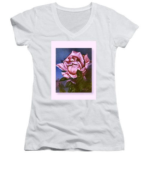 My First Rose Women's V-Neck T-Shirt (Junior Cut)