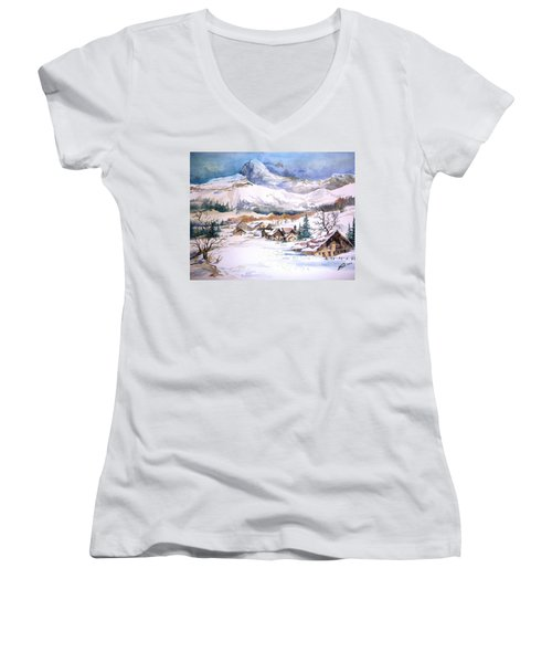 My First Snow Scene Women's V-Neck (Athletic Fit)