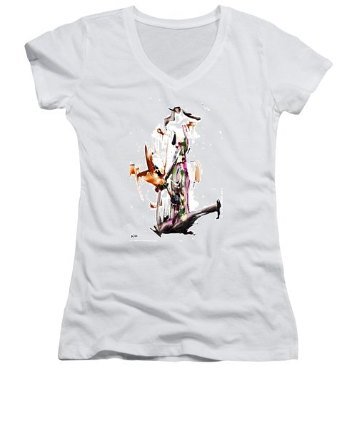 My Form Of Jazz Series - 10187.110709 Women's V-Neck T-Shirt (Junior Cut) by Kris Haas
