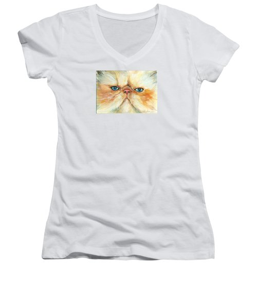 My Happy Face Women's V-Neck T-Shirt (Junior Cut) by Donna Tucker