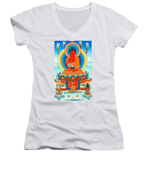 Namo Amitabha Buddha 35 Women's V-Neck (Athletic Fit)