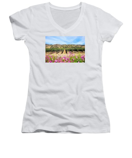 Napa Valley Vineyard With Cosmos Women's V-Neck T-Shirt