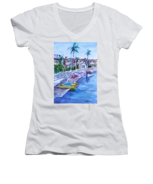 Naples Fun Women's V-Neck T-Shirt (Junior Cut) by Debbie Lewis