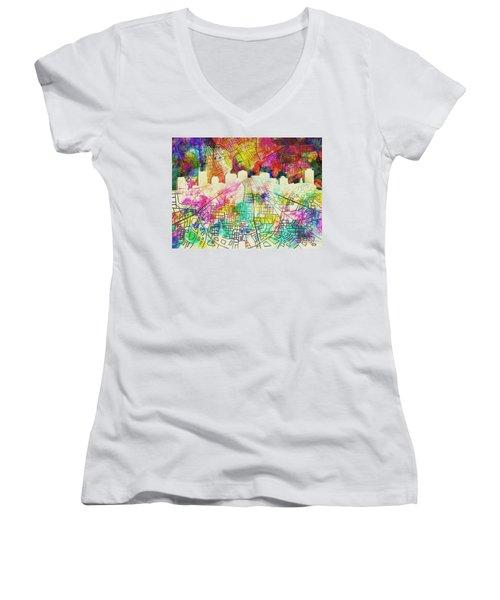 Nashville Skyline Watercolor 7 Women's V-Neck T-Shirt