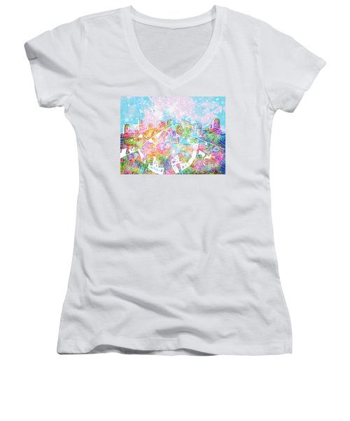 Nashville Skyline Watercolor 8 Women's V-Neck T-Shirt