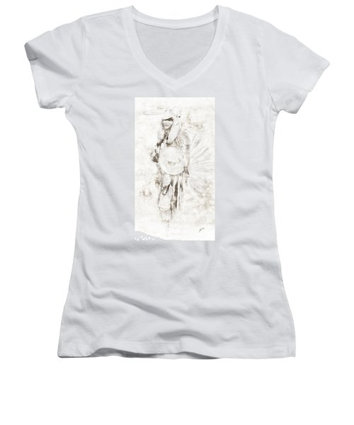 Women's V-Neck T-Shirt (Junior Cut) featuring the digital art Native American by Erika Weber