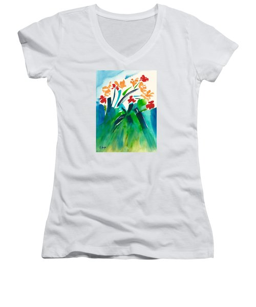 Women's V-Neck T-Shirt (Junior Cut) featuring the painting Natures Bouquet Abstract by Frank Bright