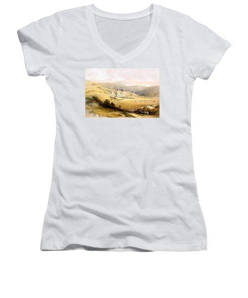 Nazareth Women's V-Neck T-Shirt (Junior Cut) by Munir Alawi
