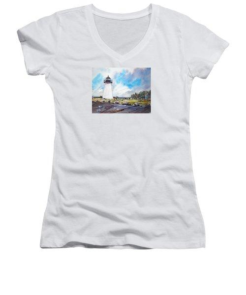 Ned's Point Light Women's V-Neck T-Shirt (Junior Cut) by P Anthony Visco