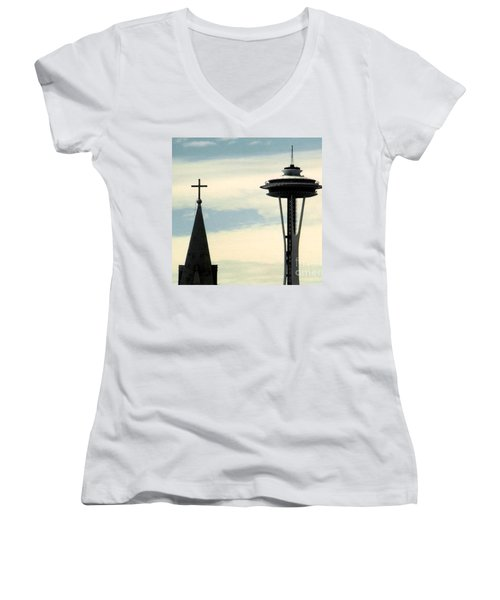 Women's V-Neck T-Shirt (Junior Cut) featuring the photograph Seattle Washington Space  Needle Steeple And Cross by Michael Hoard