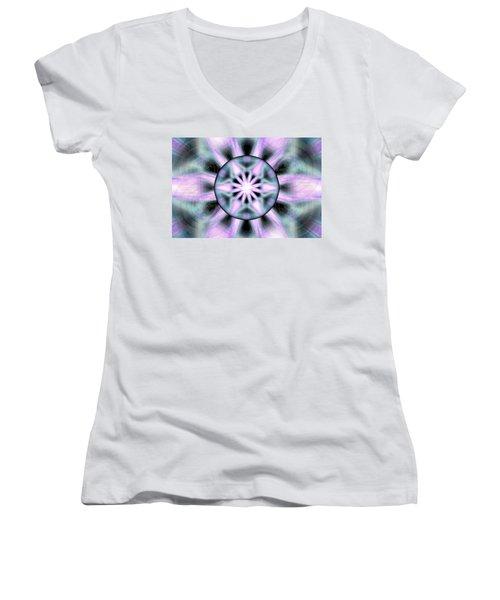 Women's V-Neck T-Shirt (Junior Cut) featuring the drawing Neo Liquid Sky by Derek Gedney