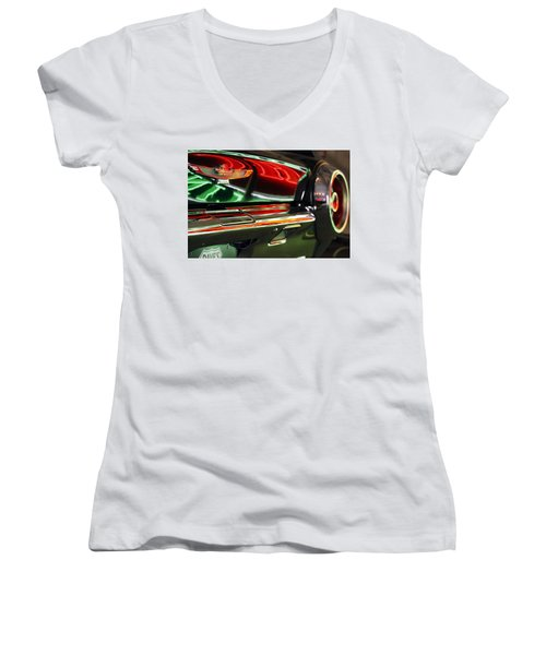 Women's V-Neck T-Shirt (Junior Cut) featuring the photograph Neon Reflections by Shoal Hollingsworth