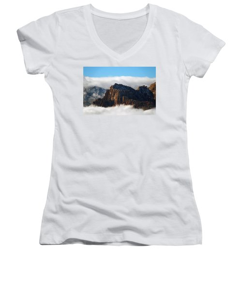 Nestled In The Clouds Women's V-Neck T-Shirt (Junior Cut) by Alan Socolik