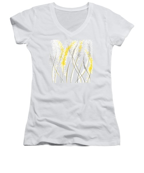 Neutral Sunshine - Yellow And Gray Modern Art Women's V-Neck (Athletic Fit)