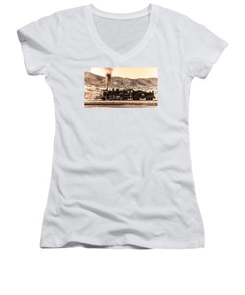 Nevada Northern Railway Women's V-Neck T-Shirt (Junior Cut) by Robert Bales