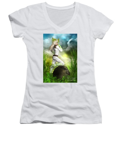 New Earth 3014 Women's V-Neck (Athletic Fit)