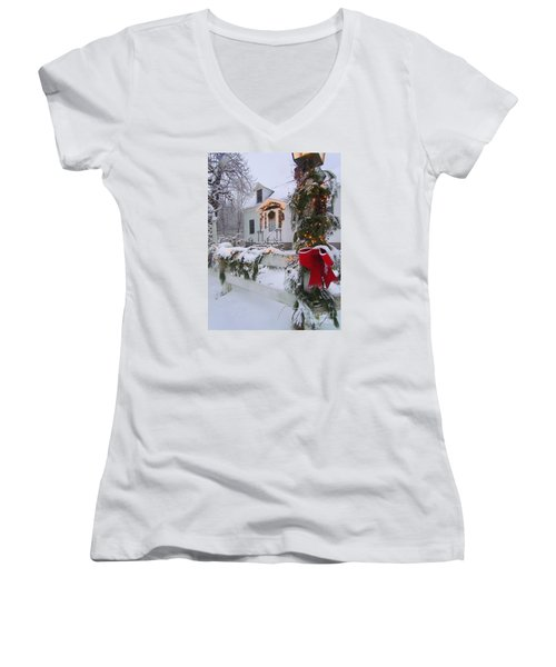New England Christmas Women's V-Neck T-Shirt (Junior Cut) by Elizabeth Dow