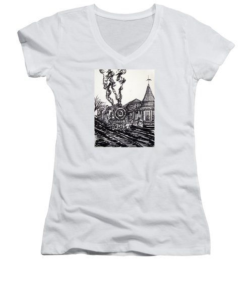 New Hope Train Station Sketch Women's V-Neck (Athletic Fit)