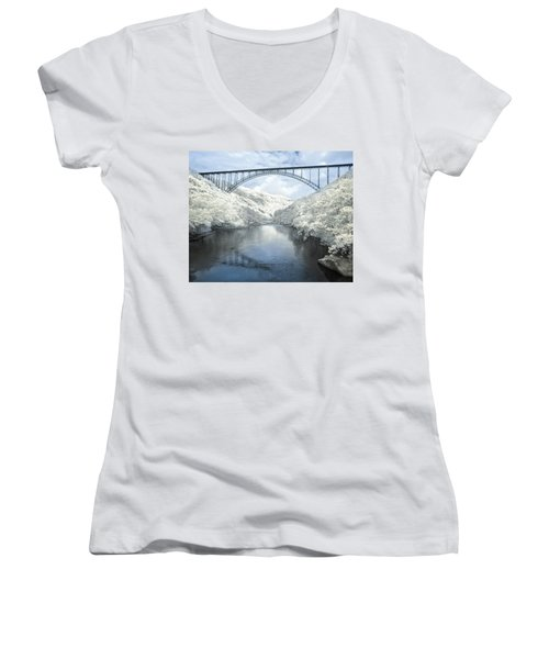 New River Gorge Bridge In Infrared Women's V-Neck T-Shirt (Junior Cut) by Mary Almond