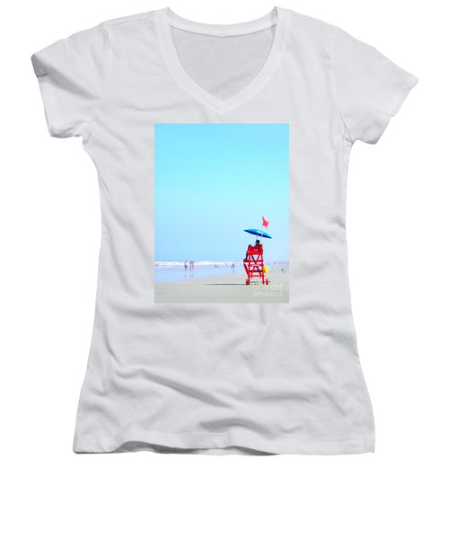 Women's V-Neck T-Shirt (Junior Cut) featuring the digital art New Smyrna Lifeguard by Valerie Reeves