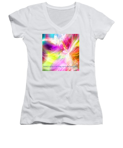 New Thing Women's V-Neck T-Shirt (Junior Cut) by Margie Chapman