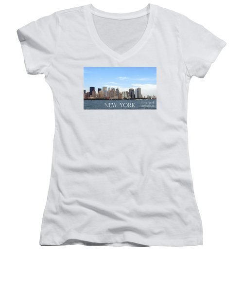 Women's V-Neck T-Shirt featuring the photograph New York As I Saw It In 2008 by Ausra Huntington nee Paulauskaite