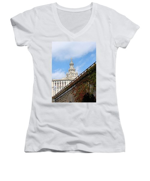 New York City Hall Women's V-Neck T-Shirt (Junior Cut) by Kristin Elmquist
