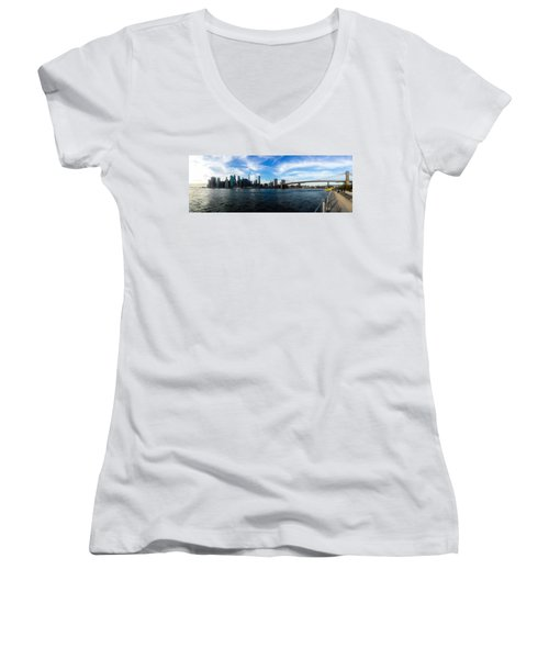 New York Skyline - Color Women's V-Neck T-Shirt (Junior Cut) by Nicklas Gustafsson
