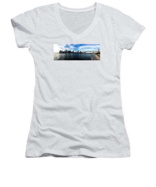 New York Skyline - Color Women's V-Neck T-Shirt