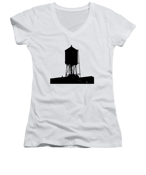 Women's V-Neck T-Shirt (Junior Cut) featuring the photograph New York Water Tower 17 - Silhouette - Urban Icon by Gary Heller