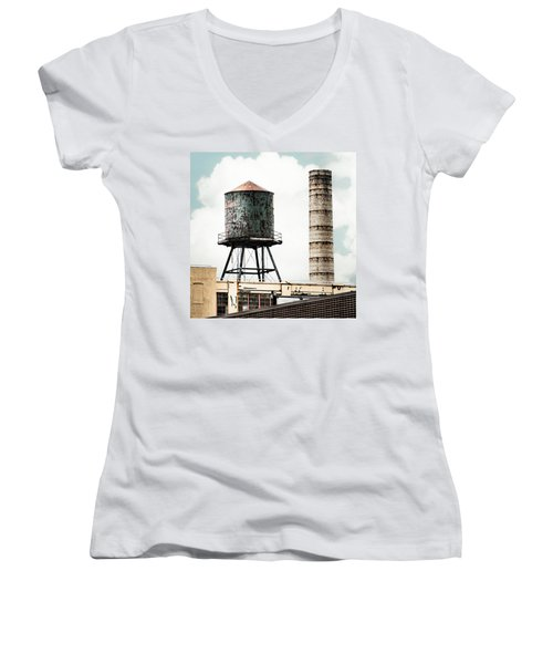 Water Tower And Smokestack In Brooklyn New York - New York Water Tower 12 Women's V-Neck