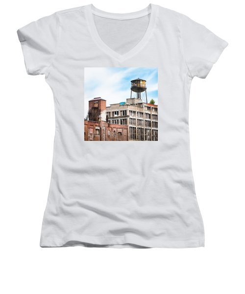 Women's V-Neck T-Shirt (Junior Cut) featuring the photograph New York Water Towers 18 - Greenpoint Water Tower by Gary Heller
