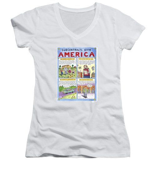 New Yorker January 16th, 1995 Women's V-Neck T-Shirt (Junior Cut) by Roz Chast