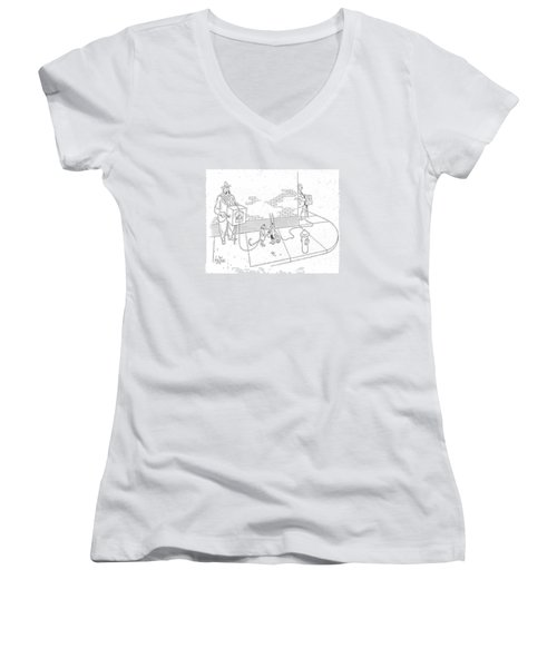 New Yorker May 22nd, 1943 Women's V-Neck T-Shirt (Junior Cut) by George Price