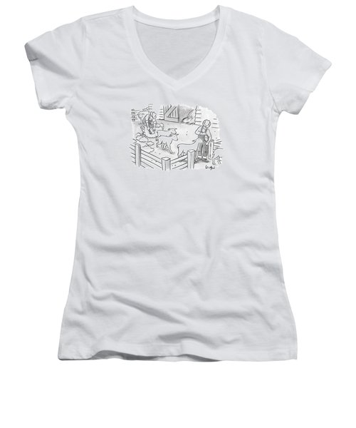 Newly-shorn Sheep Walk Out Of A Barn Women's V-Neck