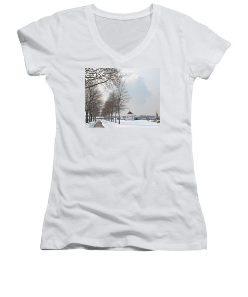 Newport Waterfront Women's V-Neck T-Shirt (Junior Cut) by Angela DeFrias