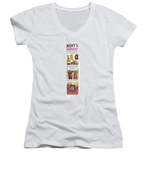 Newt's Other Stats Women's V-Neck T-Shirt (Junior Cut) by Roz Chast