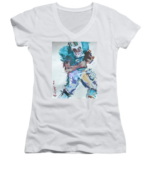 Nfl Football Painting Women's V-Neck T-Shirt (Junior Cut) by Robert Joyner