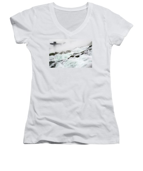 Niagara Falls With Observation Tower Behind Women's V-Neck T-Shirt