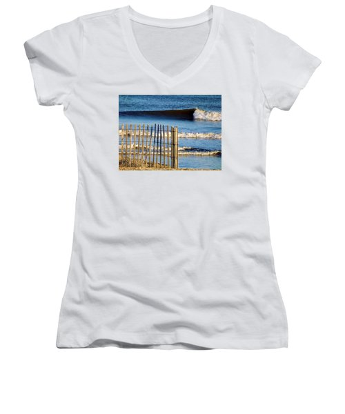 Nice Wave Women's V-Neck T-Shirt (Junior Cut) by John Wartman