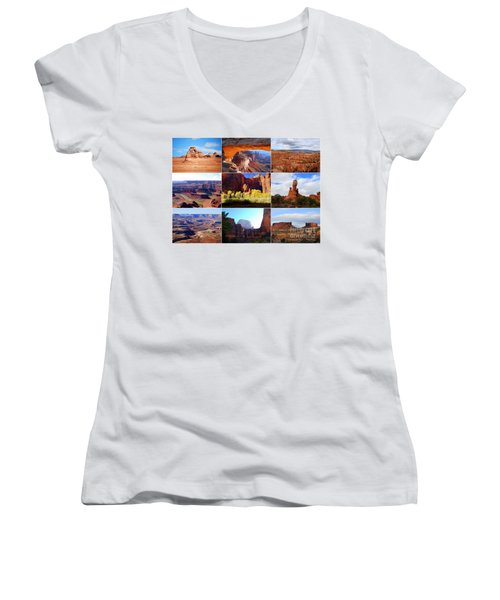 Nine Utah Landmarks Women's V-Neck T-Shirt (Junior Cut) by Catherine Sherman