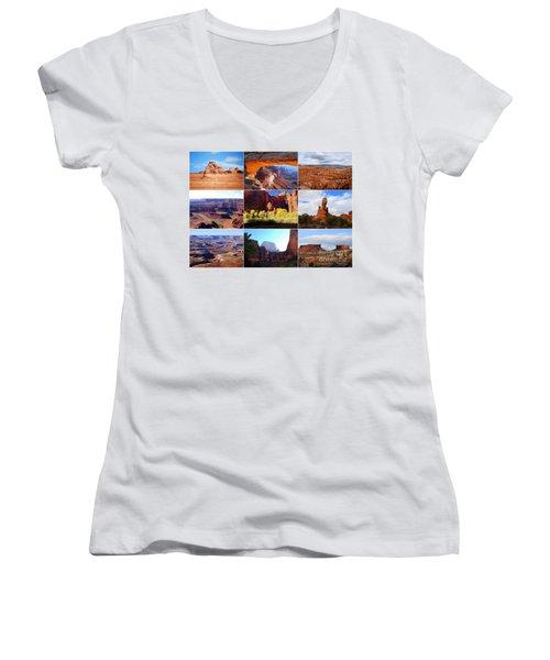 Nine Utah Landmarks Women's V-Neck T-Shirt (Junior Cut)