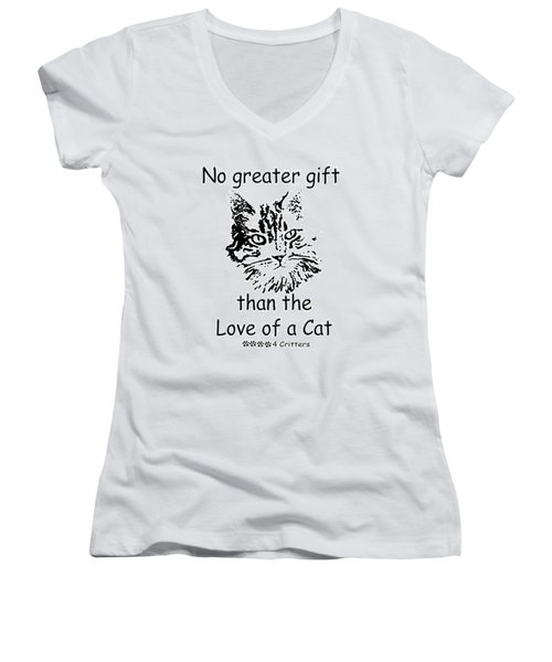 No Greater Gift Than Love Of Cat Women's V-Neck T-Shirt (Junior Cut) by Robyn Stacey