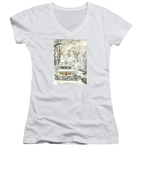 No Place Like Home For The Holidays Women's V-Neck T-Shirt (Junior Cut) by Carol Wisniewski