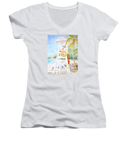 Women's V-Neck T-Shirt (Junior Cut) featuring the painting No Problem In Jamaica Mon by Marilyn Zalatan