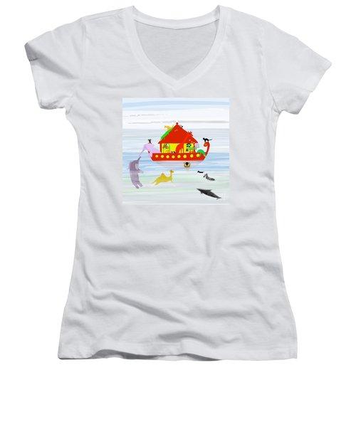 Noah's Ark Women's V-Neck T-Shirt (Junior Cut) by Barbara Moignard