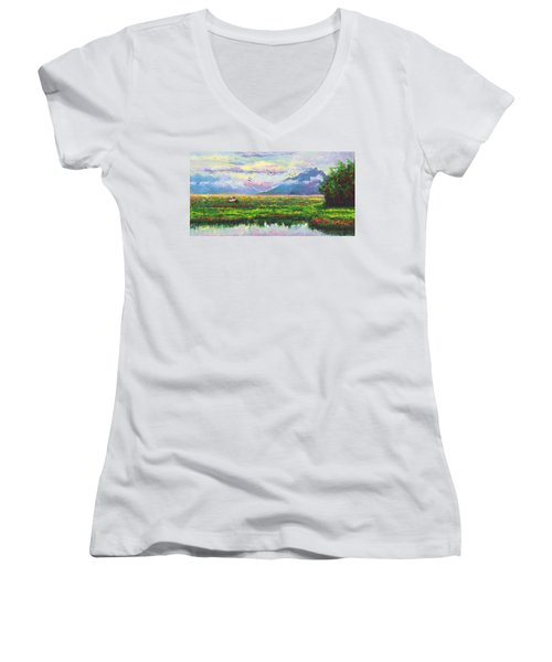 Nomad - Alaska Landscape With Joe Redington's Boat In Knik Alaska Women's V-Neck