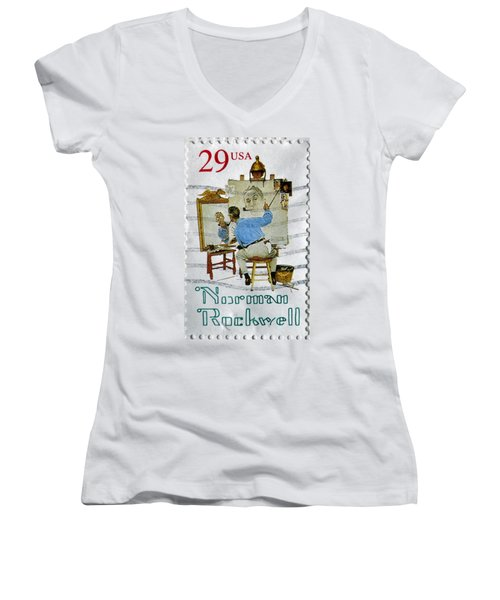 Norman Rockwell Women's V-Neck (Athletic Fit)