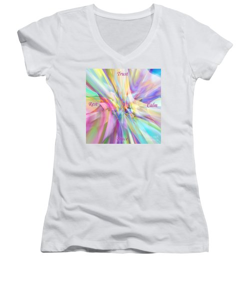 North South East West Women's V-Neck T-Shirt (Junior Cut) by Margie Chapman